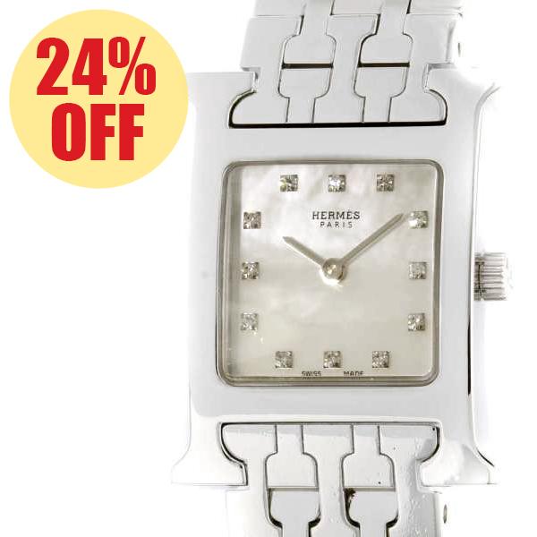 エルメス Hウォッチ HH1.210 HERMES 腕時計 レディース ホワイトシェル文字盤【安心保証】【中古】【安心保証】【中古】【安心保証】【中古】