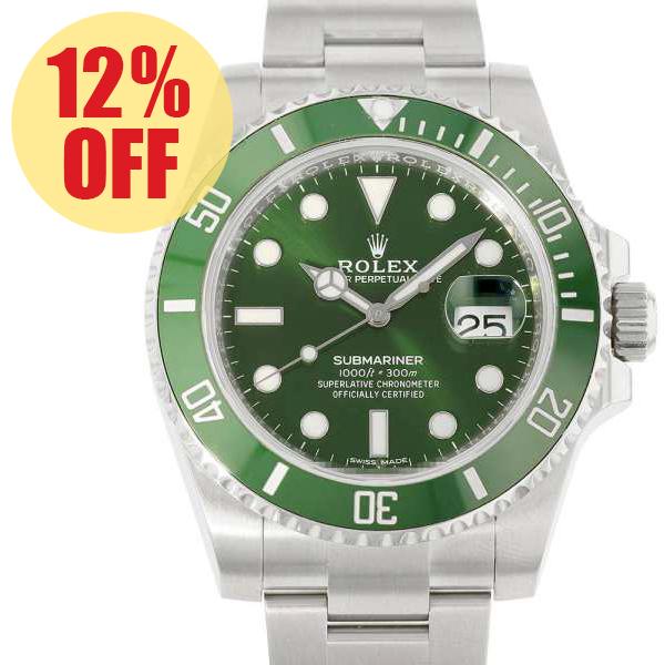 ロレックス サブマリーナ グリーン デイト ランダムシリアル ルーレット 116610LV ROLEX 腕時計 ウォッチ【安心保証】【中古】