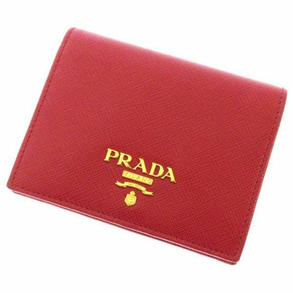 プラダ 財布 サフィアーノ SAFFIANO METAL コンパクト ウォレット 1MV204 PRADA 二つ折り財布