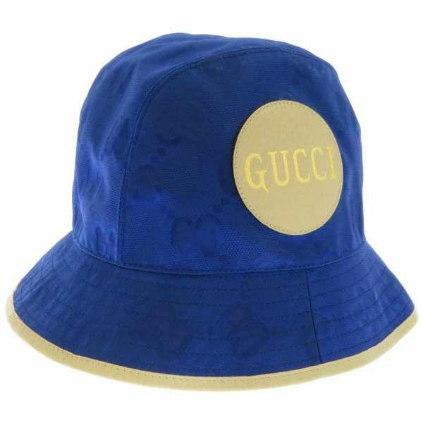 グッチ ハット GG ナイロン フェドラハット サイズS ?627115 GUCCI 帽子 ロゴ 日本限定 ブルー