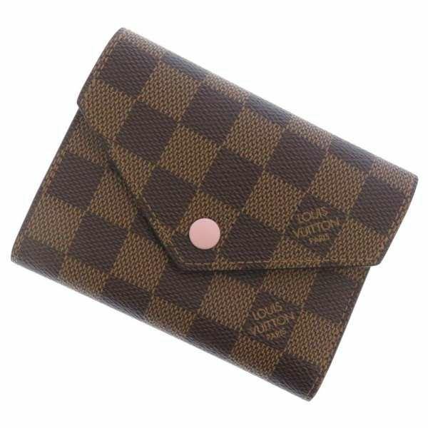 ルイヴィトン 三つ折り財布 ダミエ・エベヌ ポルトフォイユ・ヴィクトリーヌ N61700