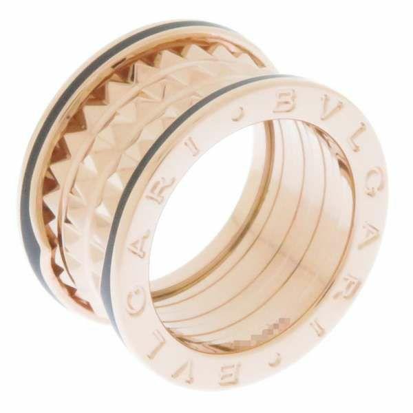 ブルガリ リング ビーゼロワン B-ZERO1 ロック 4バンド スタッズ K18PGピンクゴールド ブラックセラミック リングサイズ50 357951 BVLGARI ジュエリー 指輪