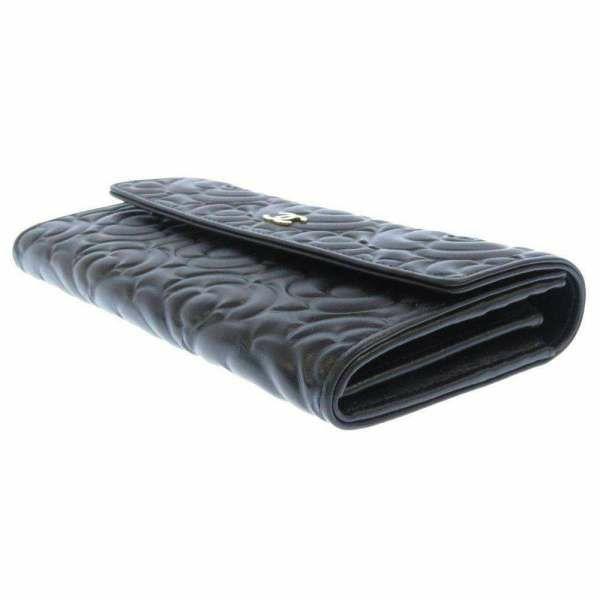 シャネル 長財布 カメリア エンボス ココマーク ラムスキン A82283 CHANEL 財布 二つ折り長財布 ブラック 黒