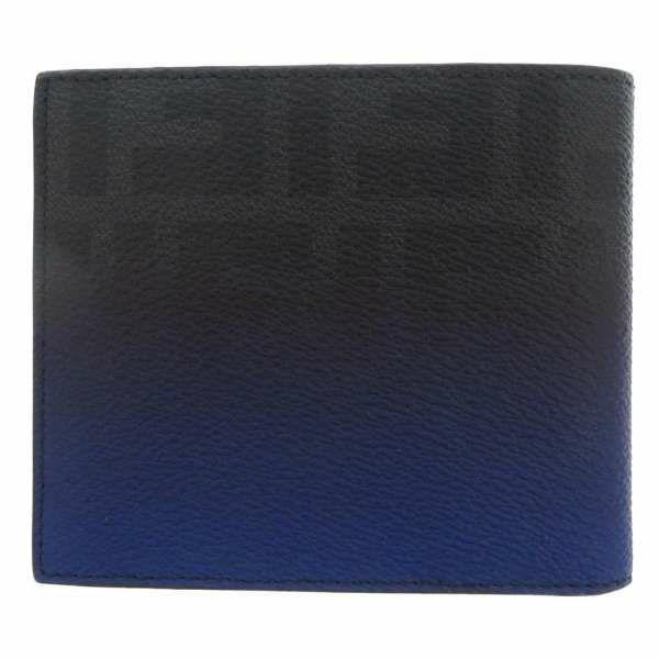 フェンディ 二つ折り財布 ブルーグラデーション 7M0169 FENDI 財布 札入れ メンズ 黒