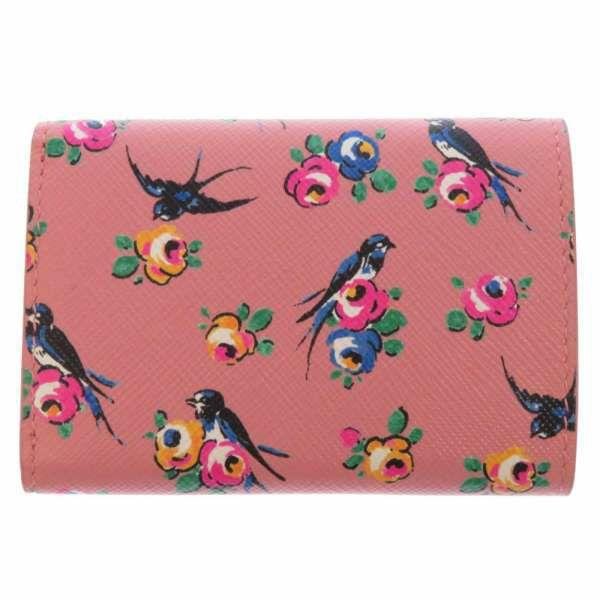 プラダ 財布 サフィアーノ コンパクトウォレット 1MH021 PRADA 三つ折り財布 花柄 アウトレット品