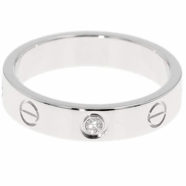 カルティエ リング ミニラブリング 1Pダイヤ ダイヤモンド 0.02ct K18WGホワイトゴールド リングサイズ51 B4050500 B4050551 Cartier ジュエリー 指輪
