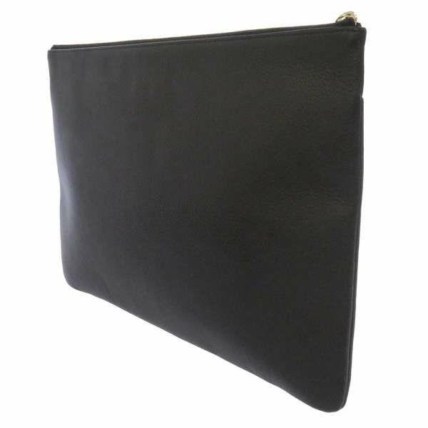 シャネル クラッチバッグ ココマーク レザー CHANEL バッグ 黒 フラット