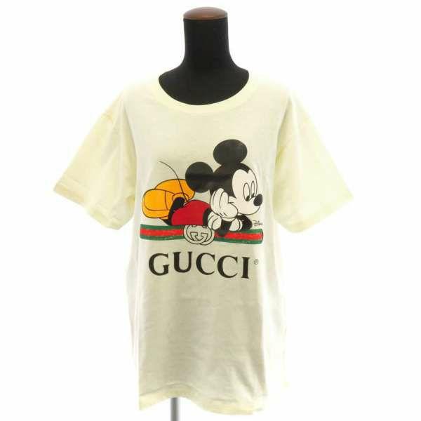 グッチ Tシャツ ディズニー×グッチ ミッキーマウスプリント オーバーサイズ Tシャツ レディースサイズM GUCCI 服 アパレル コラボ