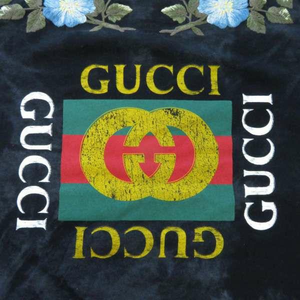 グッチ Tシャツ フローラル ヴィンテージ加工 メンズサイズM 457936 GUCCI 服 アパレル 刺繍 ブラック 黒