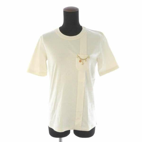 ルイヴィトン Tシャツ ロゴチャーム付き レディースサイズL LOUIS VUITTON ヴィトン 服 アパレル 半袖 トップス ポケット付き