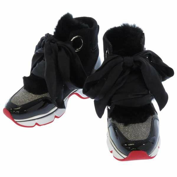 クリスチャン・ルブタン スニーカー レディースサイズ34 1/2 Christian Louboutin 靴 ファー リボン グリッター