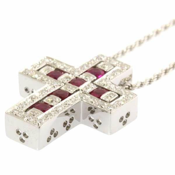 ダミアーニ ネックレス ベルエポック Belle Epoque クロス ダイヤモンド ルビー 0.29ct K18WGホワイトゴールド DAMIANI ジュエリー ペンダント