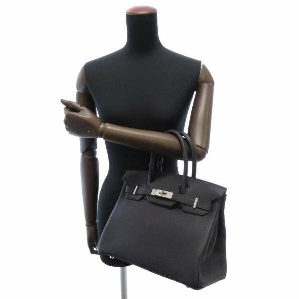 エルメス バーキン30 ブラック/シルバー金具 トゴ Z刻印 HERMES Birkin ハンドバッグ 黒