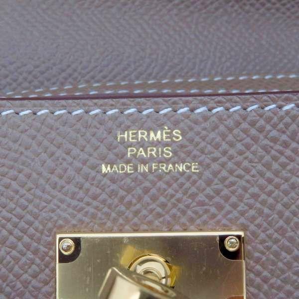 エルメス 長財布 ケリーウォレット ロング トゥー ゴー エトゥープ/ゴールド金具 ヴォーエプソン Y刻印 HERMES 財布