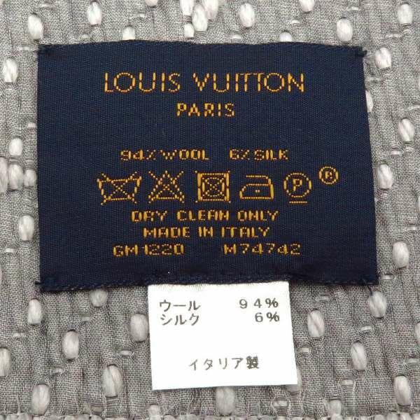 ルイヴィトン マフラー モノグラム エシャルプ・ロゴマニア グリペルル M74742 LOUIS VUITTON ヴィトン ウール シルク ストール グレー