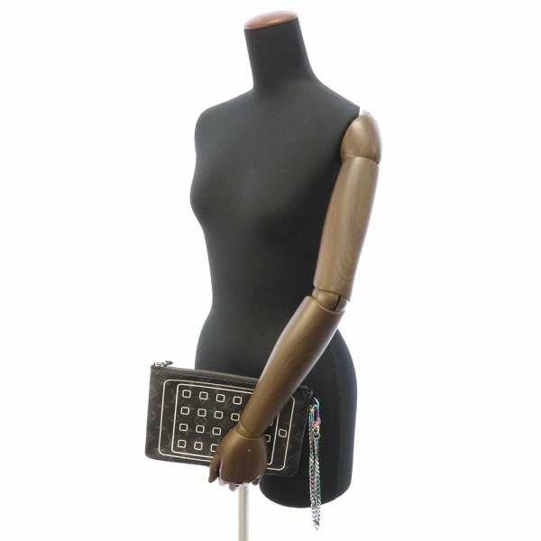 ルイヴィトン ポーチ モノグラム・エクリプス フラグメント iPad ポーチ M64449 LOUIS VUITTON ヴィトン 藤原ヒロシ コラボ iPad チェーン メンズ 2017年秋冬 クラッチ ブラック 黒