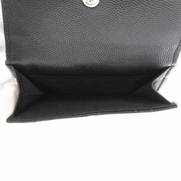 シャネル 三つ折り財布 ココマーク ラインストーン キャビアスキン CHANEL 財布 ブラック 黒
