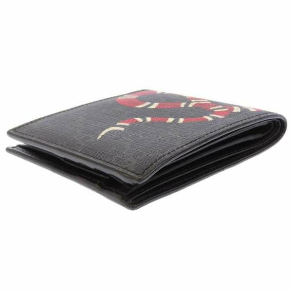 グッチ 二つ折り財布 GGスプリーム スネーク 451266 GUCCI 財布 ヘビ ブラック 黒