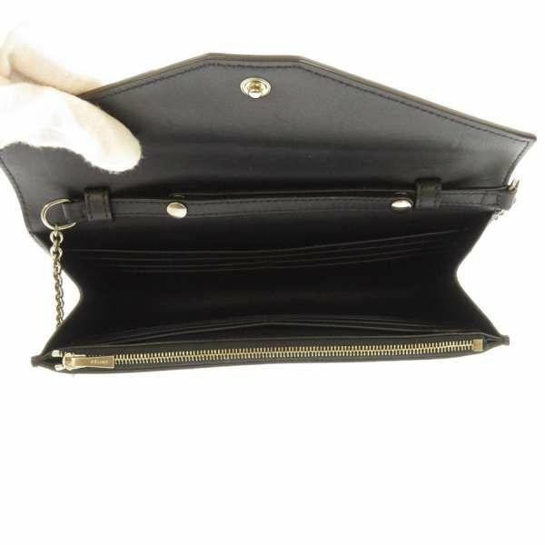 セリーヌ チェーンウォレット ラージフラップ パイソン 105213 CELINE 長財布 バイカラー 黒