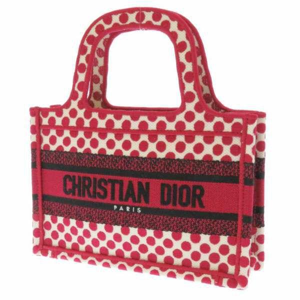 クリスチャン・ディオール トートバッグ ブックトート ミニ S5475ZBBE Christian Dior バッグ ドット柄 白 黒