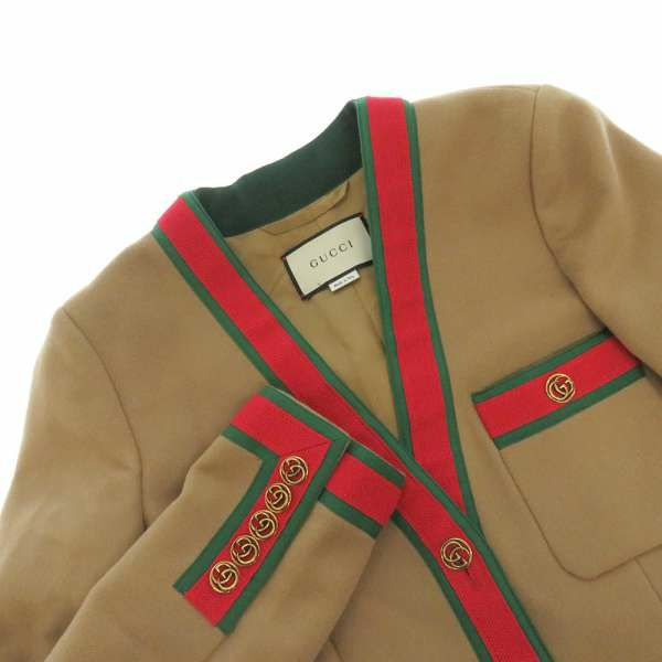 グッチ ロングコート ウェブストライプ レディースサイズ40 518064 GUCCI アウター コート 2018年秋冬コレクション