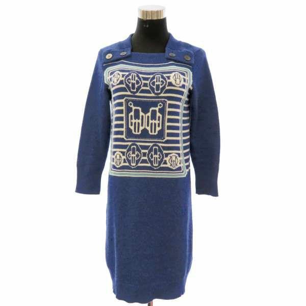 エルメス ワンピース ニット カシミヤ レディースサイズ36  HERMES 服 アパレル  ブルー