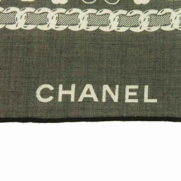 シャネル スカーフ クローバー ココマーク コットン ブラック ホワイト CHANEL アパレル 黒 白