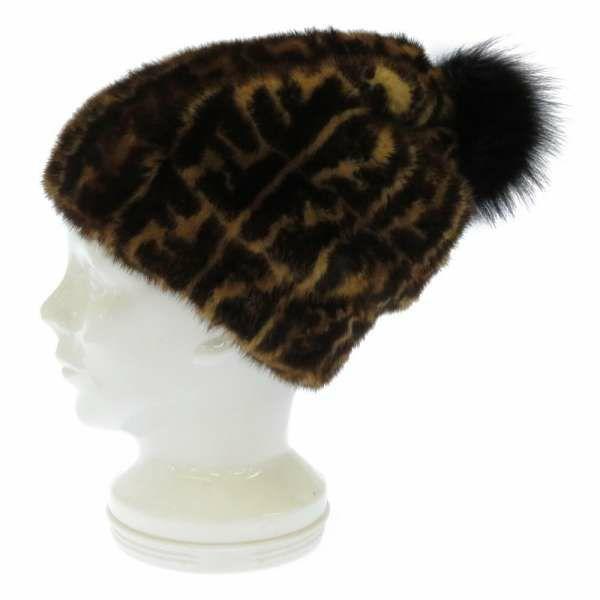 フェンディ ハット ズッカ柄 ミンクファー フォックスファー サイズM FNX085 FENDI 帽子 ブラウン 黒