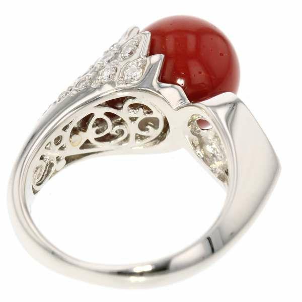珊瑚 リング ダイヤモンド 0.70ct サンゴ プラチナ900 Pt900 サイズ約12.5号 ジュエリー 指輪