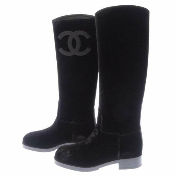 シャネル ブーツ ベルベット ココマーク レディースサイズ36 CHANEL 靴 黒