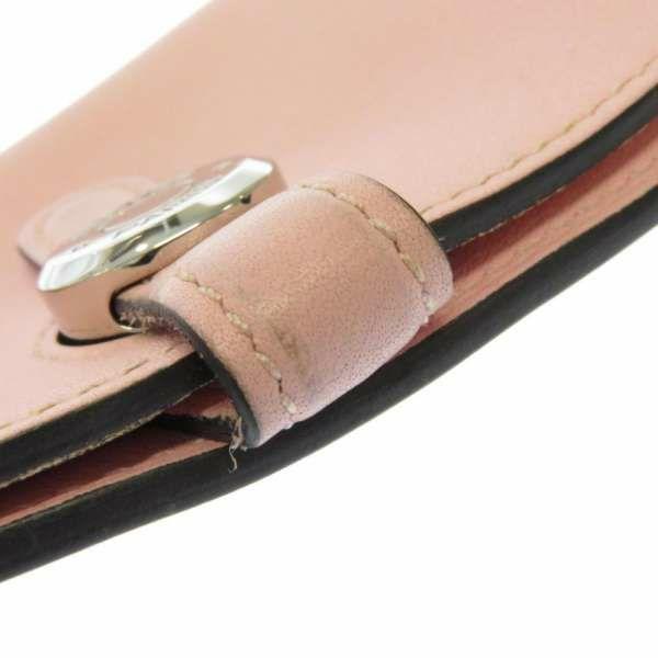 エルメス カードケース ドゴン チェーン付き ローズサクラ/シルバー金具 ヴォースイフト T刻印 HERMES 小銭入れ コインケース
