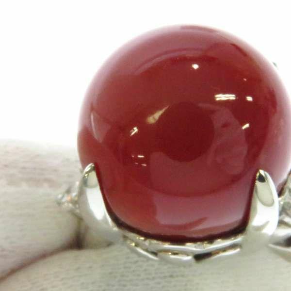 珊瑚 リング ダイヤモンド0.44ct プラチナ900 Pt900 リングサイズ12号 ジュエリー 指輪