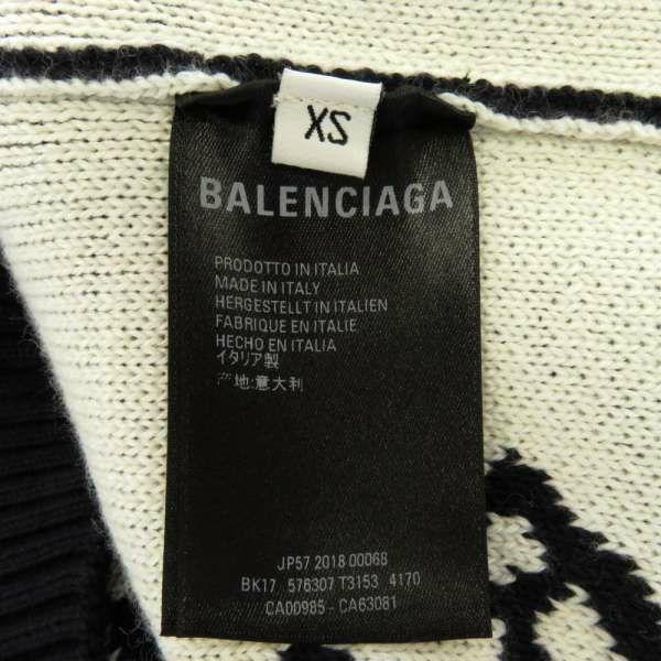 バレンシアガ セーター オーバーサイズ ロゴ メンズサイズXS 576307 BALENCIAG アパレル トップス ネイビー 白