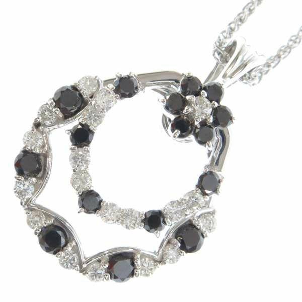 ダイヤモンド ネックレス ダイアモンド ブラックダイヤ 計2.0ct K18WGホワイトゴールド ジュエリー ペンダント フラワーモチーフ
