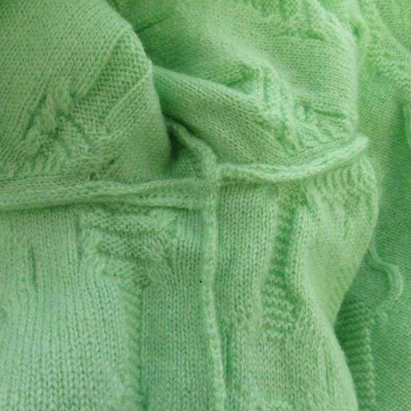 エルメス ロングカーディガン ニット カシミヤ レディースサイズ40 HERMES 服 アパレル ベルト柄 グリーン