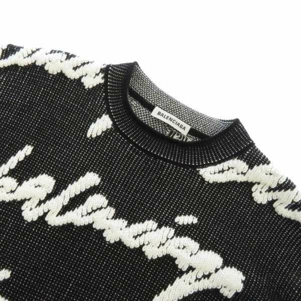 バレンシアガ セーター ロゴ オーバーサイズニット メンズサイズXS 628730 BALENCIAGA 服 アパレル 黒 白