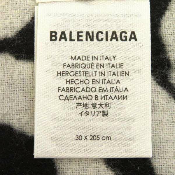 バレンシアガ マフラー ロゴ ゼブラ ウール BALENCIAGA ストール 黒 白