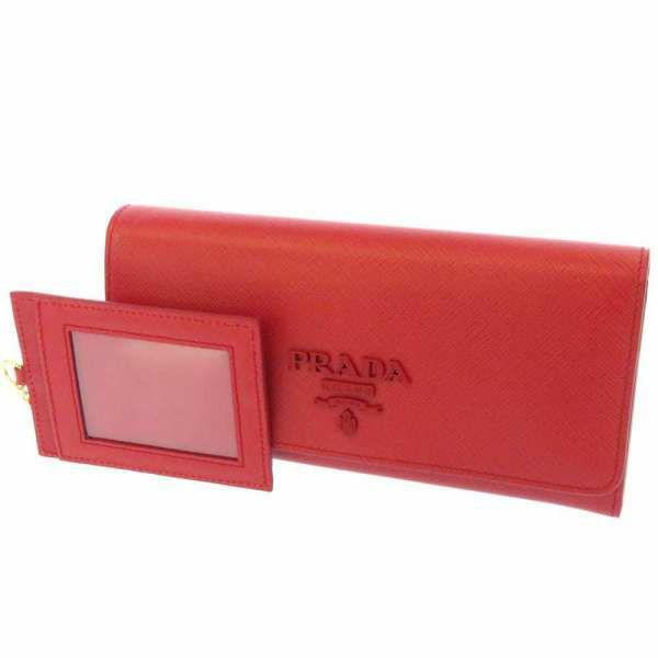 プラダ 長財布 サフィアーノ SAFFIANO レッド 1MH132 PRADA 財布 カードケース付き